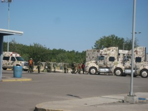 Mexican Military manning the border crossing